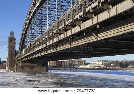 poster of Bolsheokhtinsky bridge - a bridge across the Neva River in St. Petersburg. Connects the historic city center with the area of Malaya Okhta.