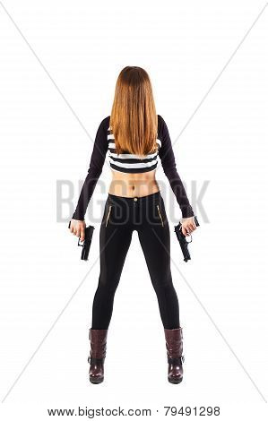Mysterious Female Assassin With Guns