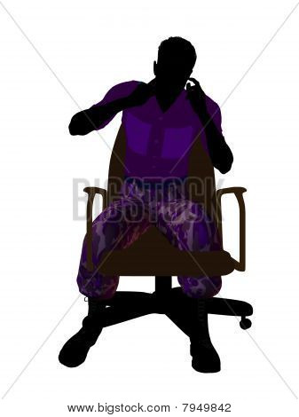 Male soldier sitting on an office chair silhouette on a white background poster