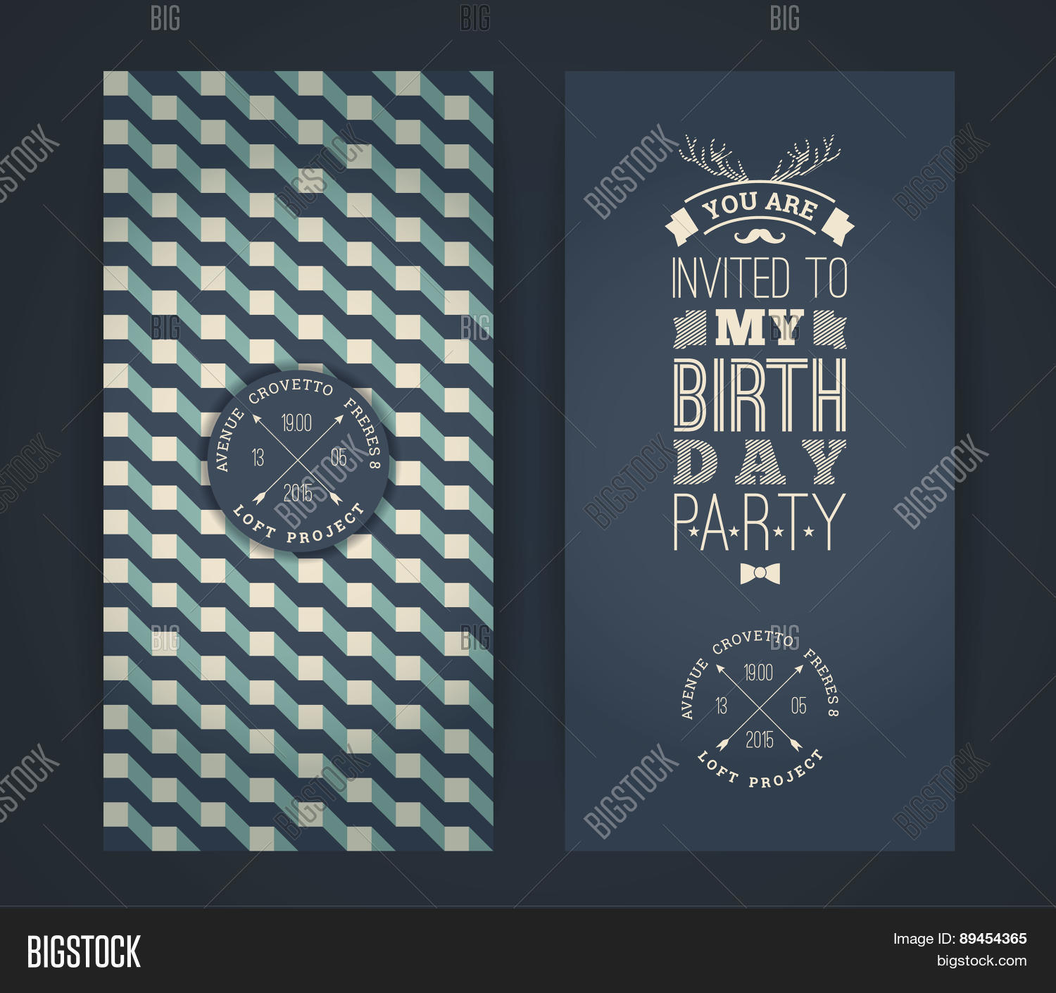 Happy birthday invitation vintage vector photo bigstock happy birthday invitation vintage retro background with geometric pattern stopboris Images