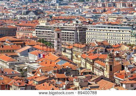 Red roofs and typical building of Nice, France (view from above).