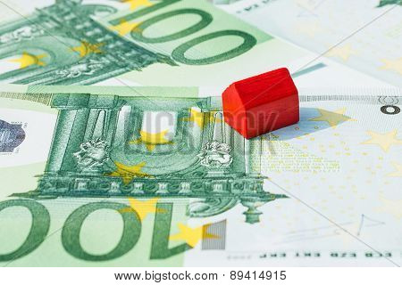 Concept House For Sale Money Euro Red