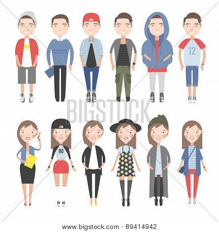Girls and boys in casual clothes set.
