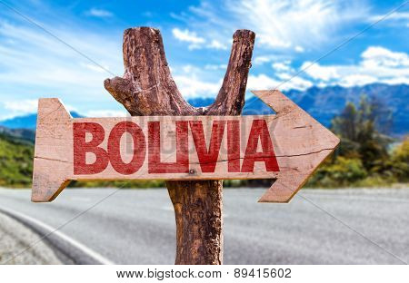 Bolivia wooden sign with road background