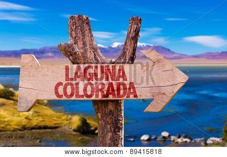 Laguna Corada wooden sign with Laguna Corada background