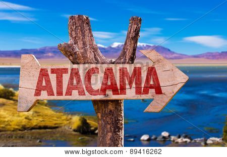 Atacama wooden sign with Laguna Corada background