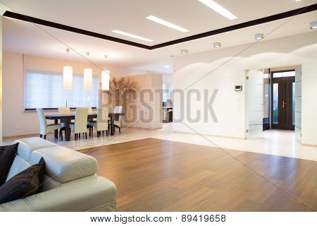 Open Space With Oak Parquet