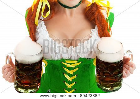 Sexy Woman And Two Beer Glasses