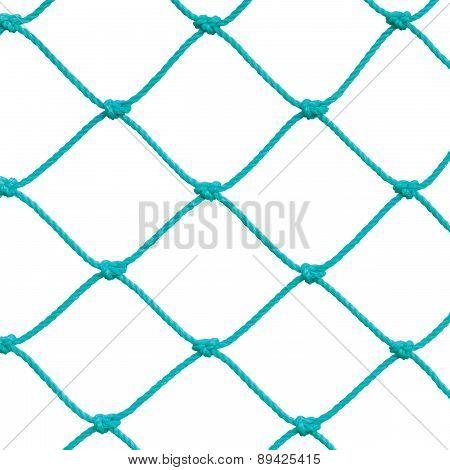 Soccer Football Goal Post Set Net Rope Detail, New Green Goalnet Netting Ropes Knots Pattern, Macro