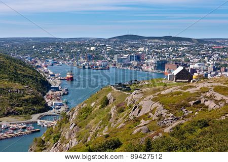 St. John's, Newfoundland, Canada - AUG 30, 2014: Saint Johns Downtown Harbour Signal Hill NL Canada