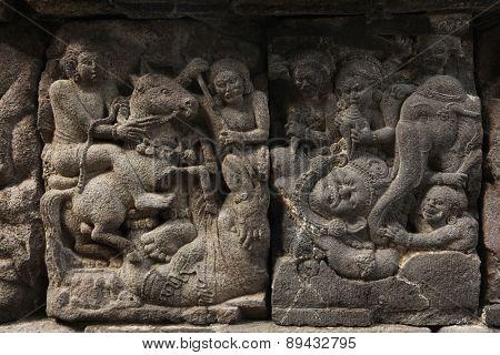 Stone bas relief from the Prambanan Temple near Yogyakarta, Central Java, Indonesia.
