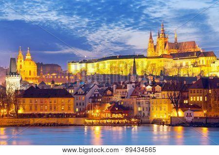 Charles bridge Moldau river Lesser town Prague castle Prague (UNESCO) Czech republic poster