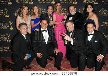 LOS ANGELES - APR 24: El Gordo Y La Flaca, Carlos Calderon at The 42nd Daytime Creative Arts Emmy Awards Gala at the Universal Hilton Hotel on April 24, 2015 in Los Angeles, California