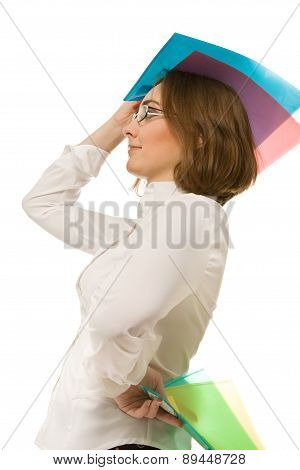 Picture Of Businesswoman Holding Colorful Folders