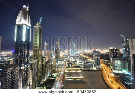 DUBAI, UAE - FEBRUARY 3 - Emirates Twin Towers, Dubai, designed by NORR Group Consultants International. One tower is 1165 feet high and the other is 1014 feet high. Picture taken on February 3, 2016.