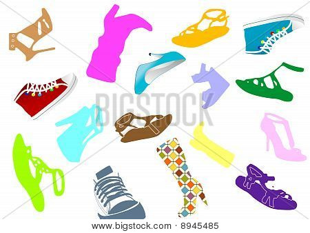 Illustration of some colored woman shoes
