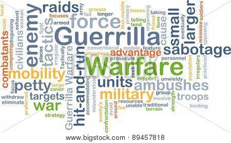 Background concept wordcloud illustration of guerrilla warfare