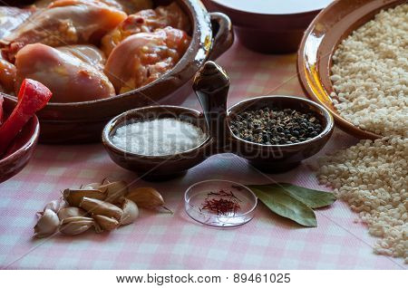 Still Life Prepared For Paella Valenciana