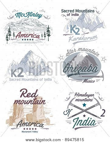 Set of vintage logos with views of mountains, labels and icons.