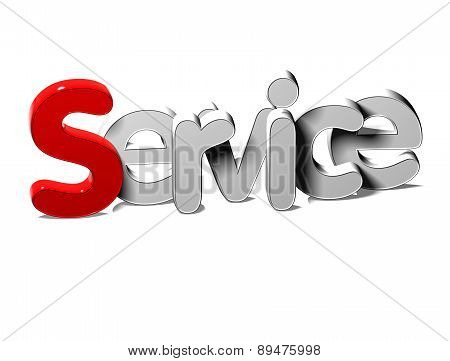3D Silver Word Service On White Background