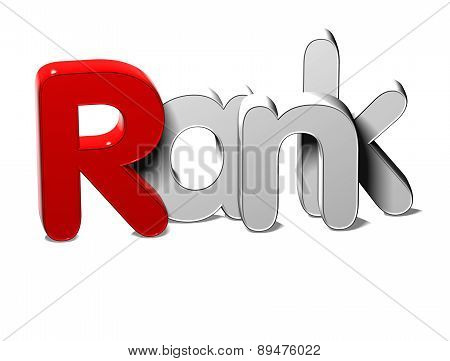 3D Silver Word Rank On White Background