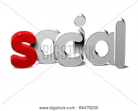 3D Silver Word Social On White Background