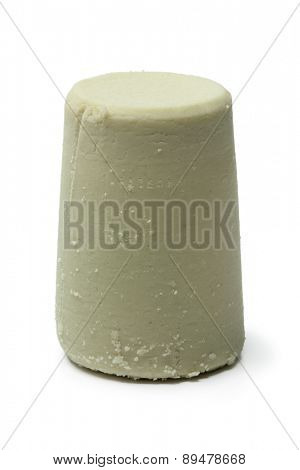 Traditional whole swiss Schabziger cheese on white background