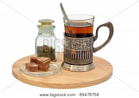Tea Set With Glass-holder Isolated