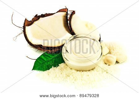Coconut Cocos With Cream And Green Leaf
