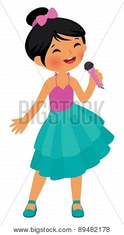 Asian Little Girl Singing Hold The Microphone