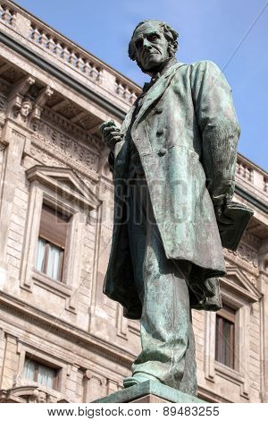Statue Of Alessandro Manzoni In Milan
