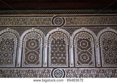 Bahia Palace, Marrakech, Morocco - April 13, 2015: fasade detail
