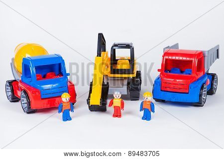 Miniatures of construction workers and trucks