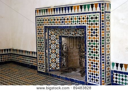 Bahia Palace, Marrakech, Morocco - April 13, 2015: fireplace