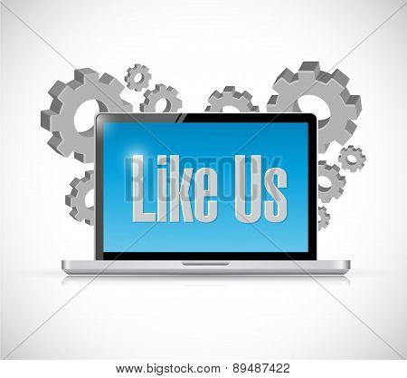Like Us Tech Computer Sign Concept