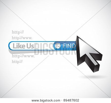 Like Us Search Bar Sign Concept