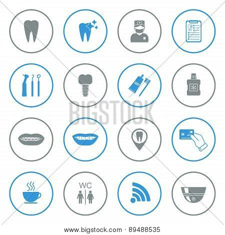 Set Of Dental Icons. Isolated. Grey And Blue. Vector