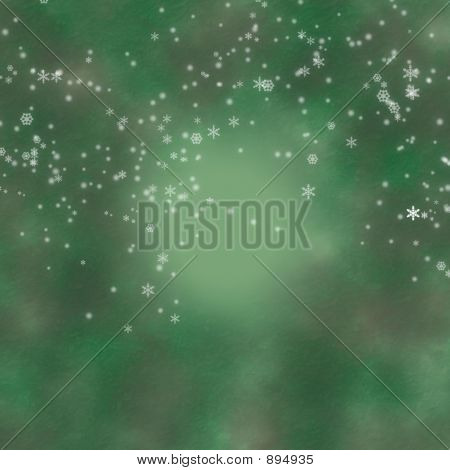 Green Digital Backdrop With Snow