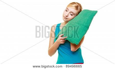 Sleepy Tired Blonde Girl With Green Pillow