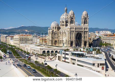 MARSEILLE, FRANCE - MAY 17: The Cathedral of Saint Mary Major on May 17, 2015 in Marseille, France. The Musee Regards de Provence, in the foreground, shows the historical artworks from Provence