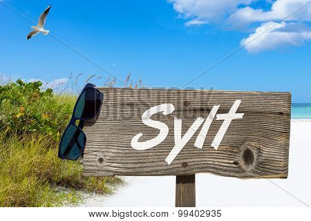 Wooden Signboard And Sunglasses