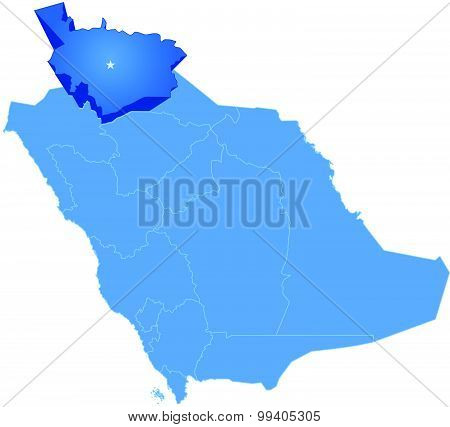 Map of Saudi Arabia the region Al Jawf is pulled out isolated on white background poster