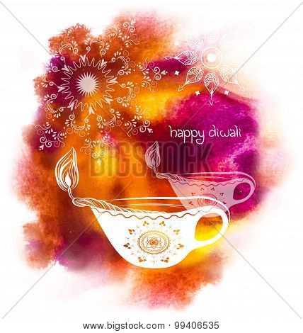 Happy Diwali Festival with watercolour background