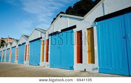Boats sheds, row of colorful storage sheds.