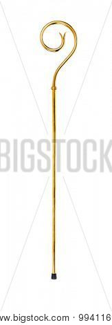 Staff or scepter of Sinterklaas. Isolated on white backgroud. Part of a dutch sancta tradition