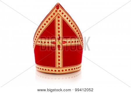 Mitre or mijter of Sinterklaas. Isolated on white backgroud. Part of a dutch sancta tradition