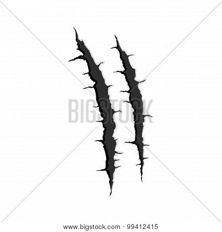 Two vertical trace of monster claw
