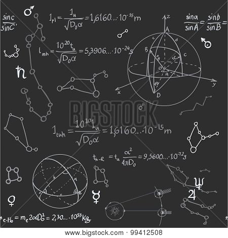 Seamless Pattern Of The Formulas On The Astronomy On Blackboard
