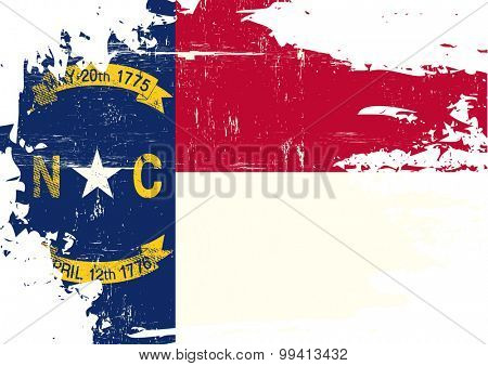 Scratched North Carolina Flag. A flag of North Carolina with a grunge texture