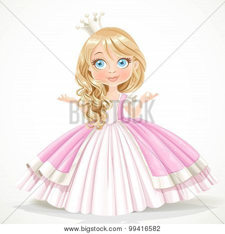 Little Princess In Crown Wearing In Magnificent Dress Isolated O